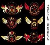 heraldic coat of arms created... | Shutterstock .eps vector #594399662