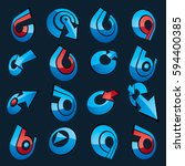 vector 3d abstract icons set ... | Shutterstock .eps vector #594400385