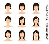 female avatar set  woman faces... | Shutterstock .eps vector #594401948