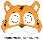 Stock vector cartoon tiger mask for children masquerade vector mask pattern 594402698