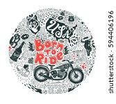 american biker lifestyle doodle ... | Shutterstock .eps vector #594406196