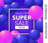 super sale colorful bubbles...   Shutterstock .eps vector #594408215
