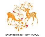 deer's gracing with flowers | Shutterstock .eps vector #59440927