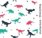 seamless dinosaur pattern... | Shutterstock .eps vector #594410906