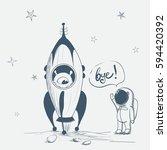 astronaut says bye to alien... | Shutterstock .eps vector #594420392