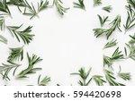 Green Leaf Rosemary On White...