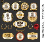 golden badges and labels with... | Shutterstock .eps vector #594422825