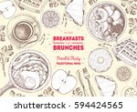 breakfasts and brunches top... | Shutterstock .eps vector #594424565