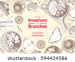 breakfasts and brunches top... | Shutterstock .eps vector #594424586