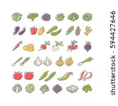 vegetables hand drawn icon set... | Shutterstock .eps vector #594427646