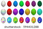 set of colorful easter eggs...   Shutterstock . vector #594431288