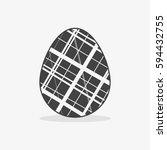 easter egg in black white style ... | Shutterstock .eps vector #594432755