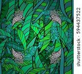 paisleys elegant floral vector... | Shutterstock .eps vector #594437522