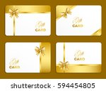 golden gift card set with bow.... | Shutterstock .eps vector #594454805