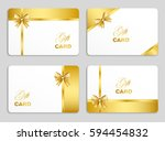 golden gift card set with bow.... | Shutterstock .eps vector #594454832