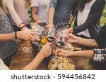 group of friends at restaurant... | Shutterstock . vector #594456842