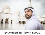 arabian man at sheik zayed... | Shutterstock . vector #594456932
