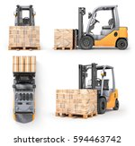 set of forklift with boxes in a ... | Shutterstock . vector #594463742