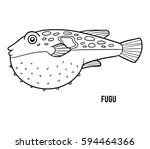 coloring book for children  fugu | Shutterstock .eps vector #594464366