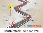 design template  road map... | Shutterstock .eps vector #594464498