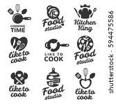 cooking logos set. food studio... | Shutterstock .eps vector #594475586