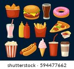 set fast food icon. cup cola ... | Shutterstock .eps vector #594477662