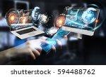 businesswoman on blurred... | Shutterstock . vector #594488762