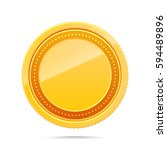 3d blank golden coin isolated... | Shutterstock .eps vector #594489896
