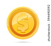 3d gold dollar coin isolated on ... | Shutterstock .eps vector #594490592