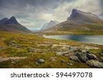 mountain landscape. rocky shore ... | Shutterstock . vector #594497078