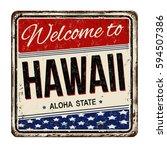 welcome to hawaii vintage rusty ... | Shutterstock .eps vector #594507386