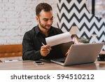 handsome young businessman... | Shutterstock . vector #594510212