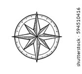 compass rose isolated on white... | Shutterstock .eps vector #594510416