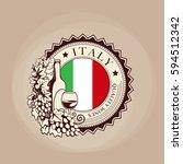 italian wines  round label ... | Shutterstock .eps vector #594512342