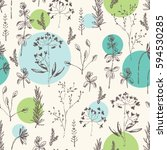 floral seamless pattern with... | Shutterstock .eps vector #594530285