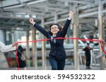 sale manager jumps into finish... | Shutterstock . vector #594532322