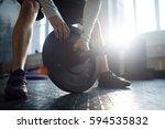 sportsman checking plate of...   Shutterstock . vector #594535832