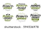 farmer's market  label. farm ... | Shutterstock .eps vector #594536978