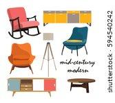mid century danish living room... | Shutterstock .eps vector #594540242