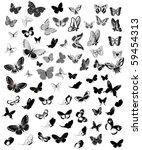 set butterfly | Shutterstock .eps vector #59454313