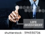 business man pointing hand on... | Shutterstock . vector #594550736