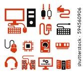 hardware icon set | Shutterstock .eps vector #594560906