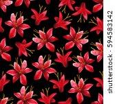 Watercolor Crocosmia Seamless...