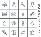 set of 16 holiday icons....   Shutterstock . vector #594585542
