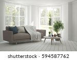 white room with sofa and green... | Shutterstock . vector #594587762