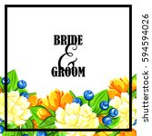 invitation with floral... | Shutterstock . vector #594594026