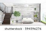modern bright interior . 3d... | Shutterstock . vector #594596276