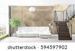 modern bright interior . 3d... | Shutterstock . vector #594597902