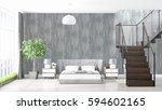 modern bright interior . 3d... | Shutterstock . vector #594602165