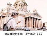 tourist using navigation app on ... | Shutterstock . vector #594604832